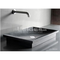 Black stone bathroom sink