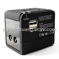 EEC-148U2 travel adapter with 2 USB charger, dual USB charger 1A world travel adapter, travel gift