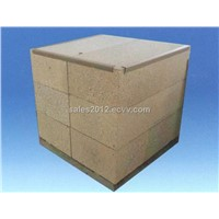 Large shaped refractory blocks for glass furnace
