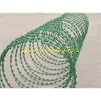 PVC coated concertina razor  wire fence for army and prison
