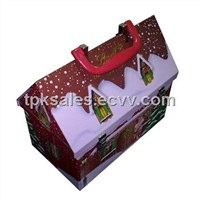 Roof-lid Christmas Tin