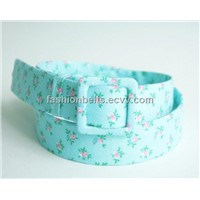 floral print and turquoise belt, womens cotton fabric belt