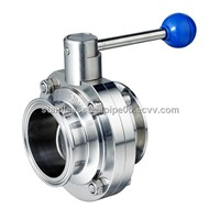 manual sanitary clamped butterfly valve