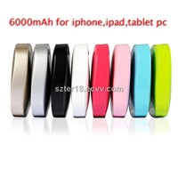 portable mobile power supply 6000mAh 8 color optional