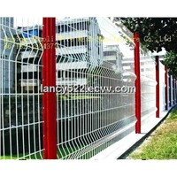 welded wire mesh panel fence installa in the garden