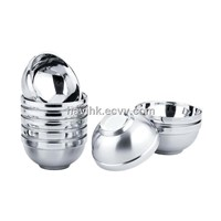 Double wall bowls, double layers stainless steel bowl
