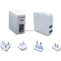 2 USB Port 5V/1A USB Power Adapter transfer plug for World Traveling Use Mobile phone charger