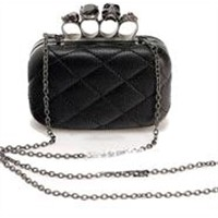 Clutch Tide Skull Ring Retro Header Layer Leather Chain Diagonal Package Small Bag