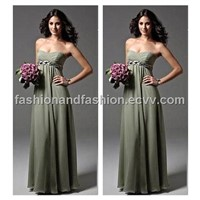 Pale Green Strapless Bridesmaid Gown Evening Dress Chiffon