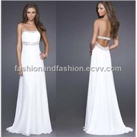 White Evening Prom Dress Bridal Wedding Dress Deb Party Ball Formal Gown Dress