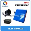 IP67 Waterproof 3S2P 11.1V 4400mAh Li-ion Rechargeable Battery Pack