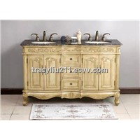 58 Inch Double Sink Bathroom Vanity Cabinet in Antique White Finish
