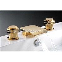3 pieces widespread bathroom basin faucet NEW WATERFALL SINK SQUARE FAUCET