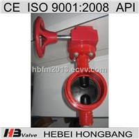 Cast iron groove butterfly valve with rubber coated Dual Alxe disc