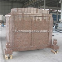 China Red Granite Mausoleum Four Crypts Mausoleum 4 Crypts