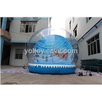 Christmas Inflatable Snowball Santa Claus with His Sled Backdrop Nice Clear Dome Decor
