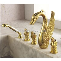 Free shipping gold clour swan handles swan tub faucet with handshower