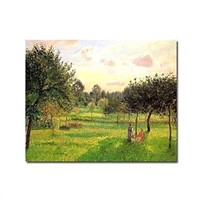 Hand-painted oil paintings by artist Two Women in a Meadow by Camille Pissarro with Stretched Frame