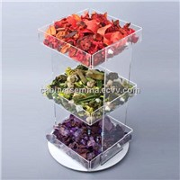 Retail Display Rotating Acrylic 3-Tray Display Bin