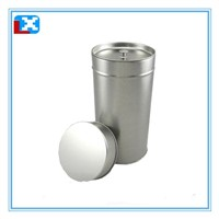 Round metal tea coffee tin box with inner lid