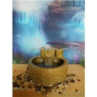 Stone Mill Shape Ceramic Table Fountain With Glass ball