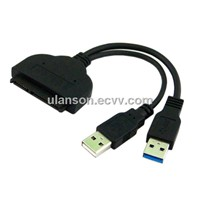 "USB 3.0 to SATA 2.0 SATAII 22P 2.5"" Hard Disk Driver SSD Adapter with USB Power Cable"