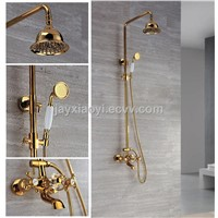Wall Mount Ti-PVD gold Finish Contemporary Brass Shower Faucets Rainfall shower