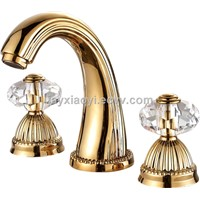 basin waterfall faucet Widespread Bathroom Sink Faucet crystal handles faucet