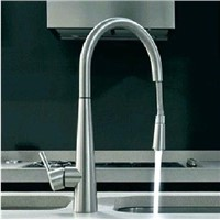 brushed nickel stain nickel finish pull out kitchen spray faucet