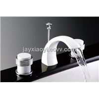 chrome and white clours waterfall basin faucet 8 inch widespread lavtory sink faucet