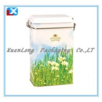 coffee tin box with plastic lid