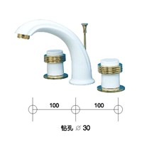 gold and white clours waterfall basin faucet 8 inch widespread lavtory sink faucet