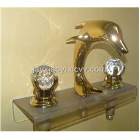 gold clour widespread lavtory sink faucet Dolphin mixer faucet crystal handles FAUCET