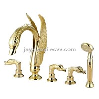 gold pvd swan handles swan tub faucet with shower head