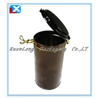 round coffee tin box with metal wire