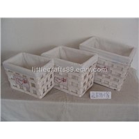 storage wooden chip basket with lining