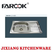 single bowl single tray stainless steel sink