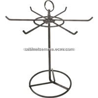 6 Prongs Rotating Wire Ornament Display Stand Counter Top Keychains Rack w/Sign Holder