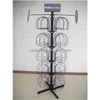 Floor Standing Metal Hat Display / Floor Display Retail Hat Cap Rack Rotating Spinner Stand