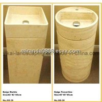 Stone Basin Sink, Round Bowl, Bathroom Counter Sink, Pedestal Sink