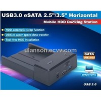 "2.5""/3.5"" Horizontal USB3.0  SATA HDD Docking+ESATA Port"