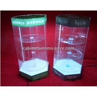 3 Layers Rotating Display Case With LED Lighting Acrylic Display Showcase D4R-112