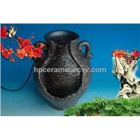 Black Glazed Pot Shape Ceramic Water Fountain