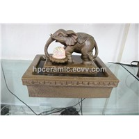 Brown Glazed Ceramic Elephant Tabletop Fountain