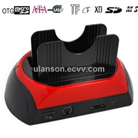 Dual HDD Docking Sation +ESATA+Card Reader+USB HUB with cloning Function(OTC)