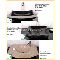 Edit Stone Basin Sink, Round Bowl, Bathroom Counter Sink, Pedestal Sink