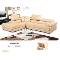 FD2113B top grain cow leather & PVC corner sofa