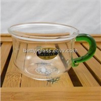 Glass Cup with color handle Beautiful Glass Coffee Cup