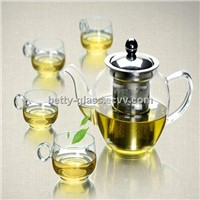 Glass Teapot with Stainless Steel Strainer and Lid Four Glass Cups and One Teapot for one set