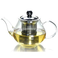Pearl Shaped Glass Teapot with Stainless Steel Strainer and Lid Glass Tea Tool China Supplier